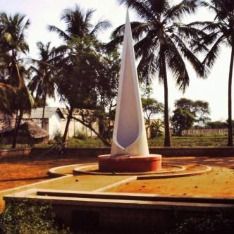 Denkmal mit Asche Mahamta Gandhis in Gandhigram (Tamil Nadu)