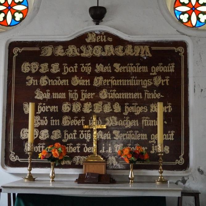 Altarinschrift in Deutsch in der New Jerusalem Church