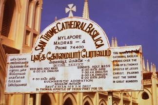 Schild an der San Tomé Basilika in Mylapore, Chennai